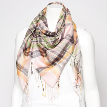 エコー ニューヨーク echo NEW YORK 806114Woven Silk Plaid Square (Petal Pink)