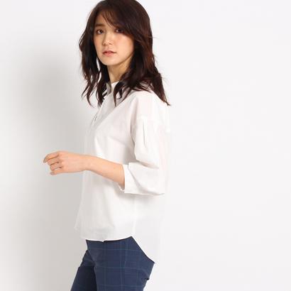 インディヴィ INDIVI 【洗える】[L]タックスリーブスキッパーシャツ (ホワイト系)