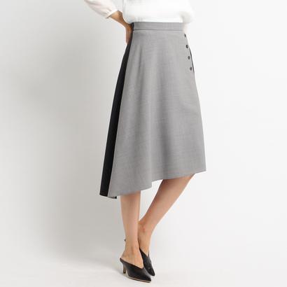 インディヴィ INDIVI 【洗える】イレギュラーヘムスカート (グレー×ダークグレー)