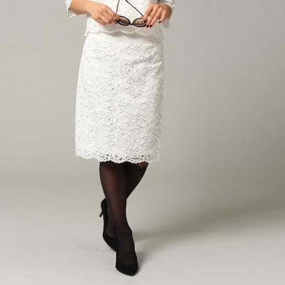 アンタイトル UNTITLED [L]レースストレートタイトスカート (ホワイト)