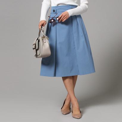 アンタイトル UNTITLED 【洗える】ベルトデザインツイルスカート (ライトブルー)