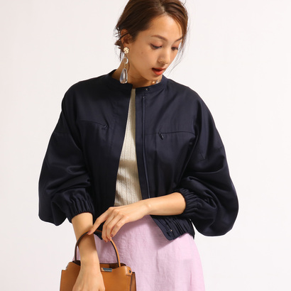 アクアガール aquagirl 【洗える】ボリュームスリーブジャケット (ネイビー)