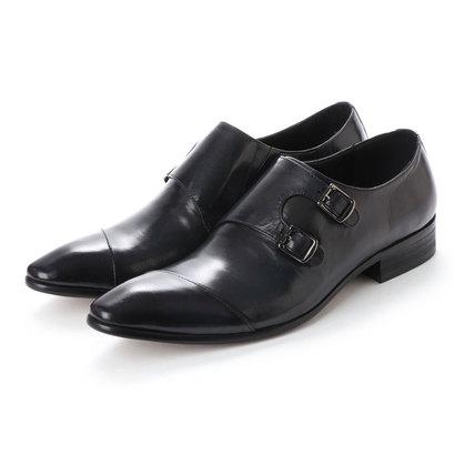ルシウス LUCIUS 本革 革靴 レザーシューズ ダブルモンクストラップ スリッポン ストレートチップ ビジネスシューズ (ネイビー)