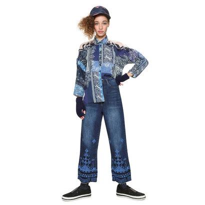 デシグアル Desigual ドルマンスリーブコットンシャツ (ブルー)