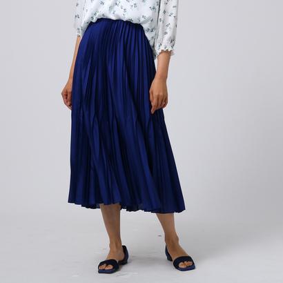 アンタイトル UNTITLED [L]サテンイレギュラープリーツスカート (ブルー)