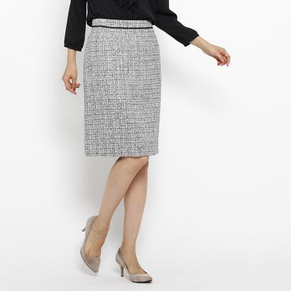 インディヴィ INDIVI [S]ネオブライトツイードスカート (ブラック)