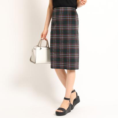 インディヴィ INDIVI [S]マドラスチェックタイトスカート (ダークグリーン)