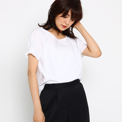 インディヴィ INDIVI ドビーチェックシャツ (ホワイト)