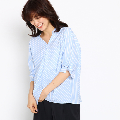 インディヴィ INDIVI [S]ソフトブロードシャツ (ライトブルー)
