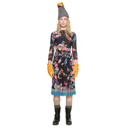 デシグアル Desigual バードプリント長袖ドレス (BLACK)