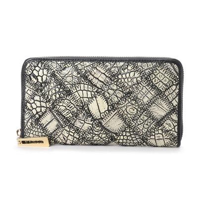 イタリコ ITALICO 本革クロコダイル 財布 ワニ革 オールラウンドファスナー (ホワイト×ブラック)