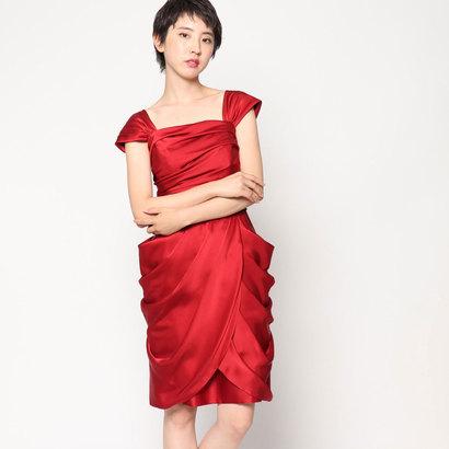 【アウトレット】ジュネビビアン Genet Vivien リボン付きコクーンドレス (レッド)