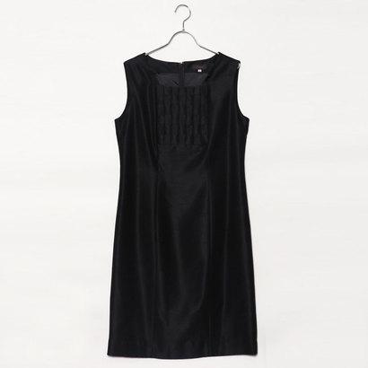 【アウトレット】ジュネビビアン Genet Vivien 胸元編み込み模様ワンピース (ブラック)