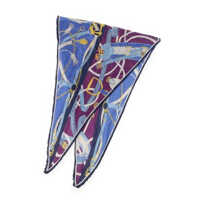 アンタイトル UNTITLED ダイヤ型シルクカシミヤスカーフ (ブルー)