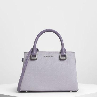 クラシック トップハンドル ハンドバッグ / Classic Top Handle Handbag (Lilac Grey)