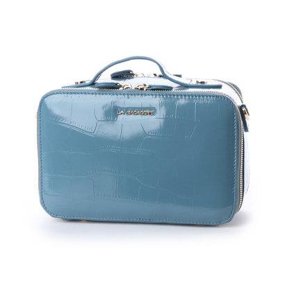 ラ バガジェリー LA BAGAGERIE 型押しクロコボックスオサイフショルダー (BLUE)