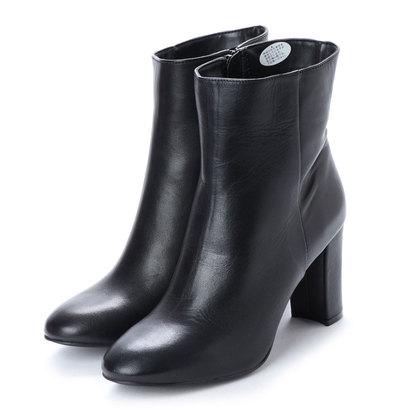 【アウトレット】カルロロセッティ CARLO ROSSETTI 8.5cm足囲2Eチャンキーヒールショートブーツ CR23052 (ブラック)
