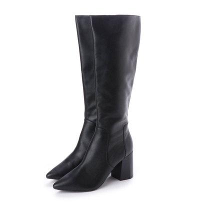 ピック アンド ペイ PIC & PAY 本革 チャンキーヒール ポインテッド プレーン ロング ブーツ (ブラック)