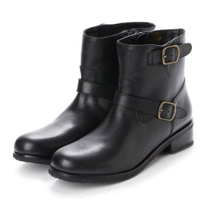 キスコ KISCO 【本革】Wベルト飾りショートブーツ (ブラック)