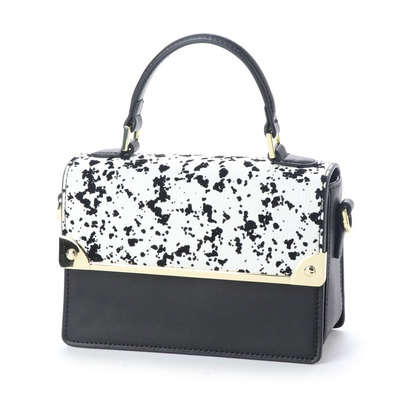 【アウトレット】フォリフォリ Folli Follie MISS FF バイカラーハンドバッグ(ホワイト/ブラック柄×ブラックレザー)