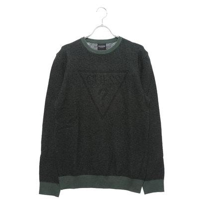 ゲス GUESS TRIANGLE LOGO DOOKU SWEATER (GREEN JACQUARD BLACK)