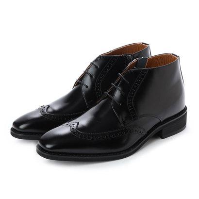 キタジマ 北嶋製靴 【6cmアップ】牛革ロングノーズウイングチップブーツ シークレットブーツ 本革日本製 サイドジッパー No.1302 (ブラック)