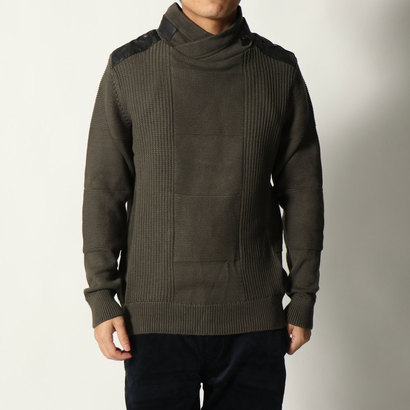 デシグアル Desigual MAN FLAT KNIT PULLOVER LONG SLEEVE (Brown)