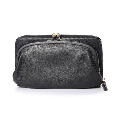 カナナラ KUNUNURRA イタリアンレザー革巻きがま口お財布BAG (ブラック)