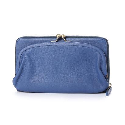 カナナラ KUNUNURRA イタリアンレザー革巻きがま口お財布BAG (ブルー)