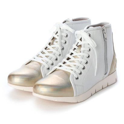 フィットジョイ FIT JOY 軽量 8 eyelet zip ブーツ (WHT/GOLD)