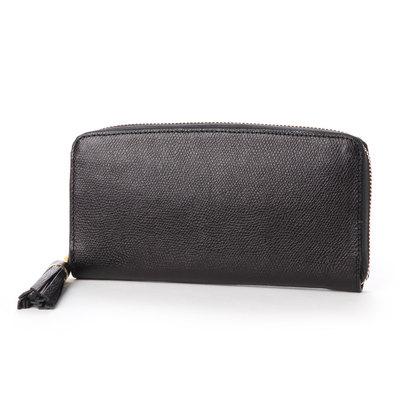 ペルケ perche 姫路レザー型押しラウンドファスナー長財布 (ブラック)