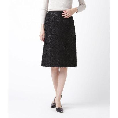 【アウトレット】ニューヨーカー NEWYORKER フラワーカットジャカード Aラインスカート (ブラック)
