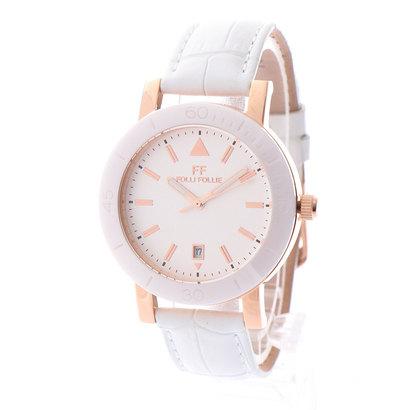 フォリフォリ Folli Follie TIME FRAMED セラミックベゼル レザーウォッチ/腕時計 (ホワイト)