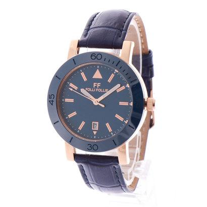フォリフォリ Folli Follie TIME FRAMED セラミックベゼル レザーウォッチ/腕時計 (ブルー)