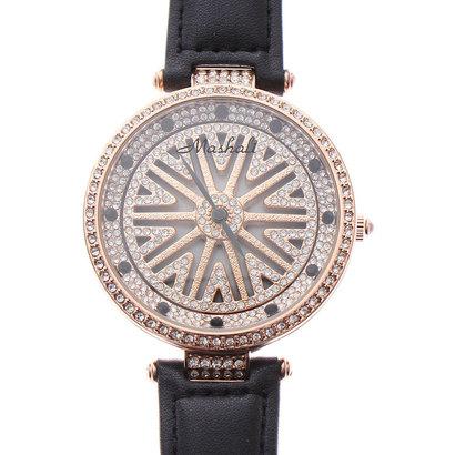 スマイルプロジェクト SMILE PROJECT 文字盤が回る ぐるぐる時計 シチズンMIYOTAムーブメント レザーベルト スピナー腕時計 RT001-BLK (BLK)