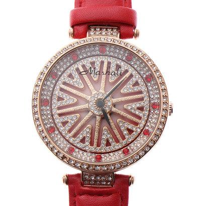 スマイルプロジェクト SMILE PROJECT 文字盤が回る ぐるぐる時計 シチズンMIYOTAムーブメント レザーベルト スピナー腕時計 RT001-RED (RED)