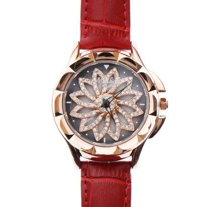 スマイルプロジェクト SMILE PROJECT 文字盤が回る ぐるぐる時計 シチズンMIYOTAムーブメント レザーベルト スピナー腕時計 RT002-RED (RED)