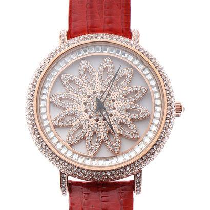 スマイルプロジェクト SMILE PROJECT 文字盤が回る ぐるぐる時計 シチズンMIYOTAムーブメント レザーベルト スピナー腕時計 RT003-RED (RED)