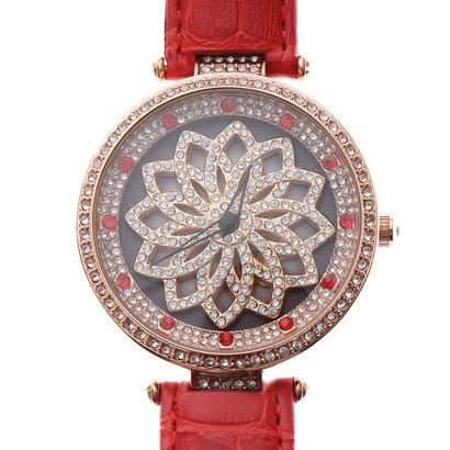 スマイルプロジェクト SMILE PROJECT 文字盤が回る ぐるぐる時計 セイコーエプソンムーブメント レザーベルト スピナー腕時計 RT005-RED (RED)