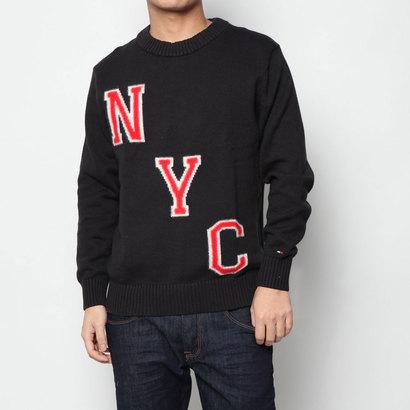 トミーヒルフィガー TOMMY HILFIGER NYCロゴセーター (ブラック)