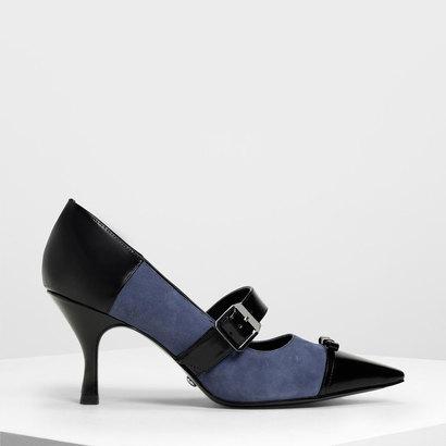 スエード&レザー リボンメリージェーンヒール / Suede & Leather Ribbon Mary Jane Heels (Blue)