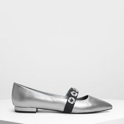 レザーグログラン メリージェーンフラット / Leather Grosgrain Mary Jane Flats (Silver)