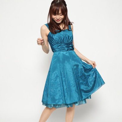 【アウトレット】ジュネビビアン Genet Vivien 胸切り替え編み上げドレス (グリーン)