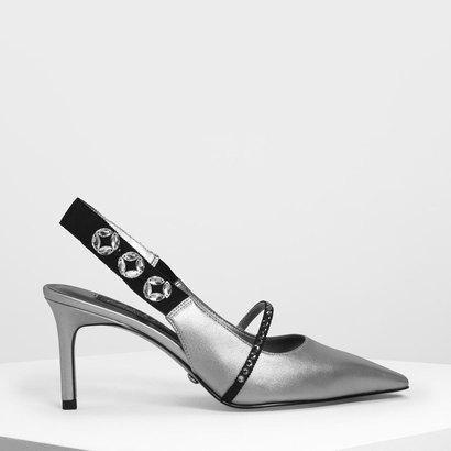 レザーグログランポインテッドトゥヒール / Leather Grosgrain Pointed Toe Heels (Silver)