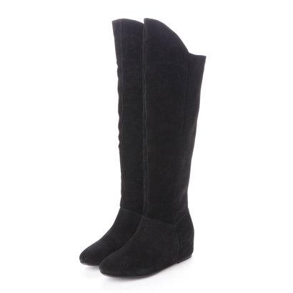 ヌエール nouer nouer サイドラインスウェードロングブーツ (ブラック)