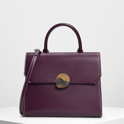 ストーンディテール プッシュロックバッグ / Stone Detail Push Lock Bag (Purple)