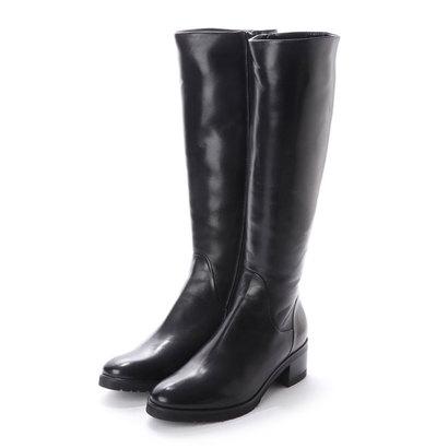 【アウトレット】ルカ グロッシ LUCA GROSSI 5cmヒールカーフスムースロングブーツ (ブラック)