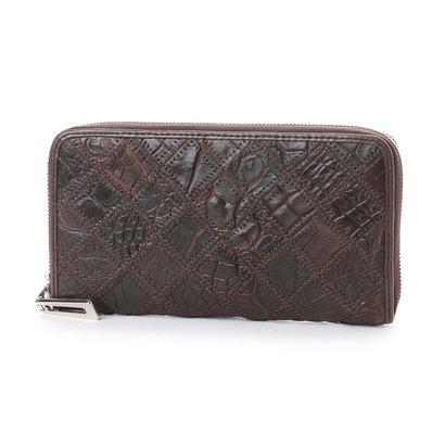 イタリコ ITALICO 本革クロコダイル 財布 ワニ革 オールラウンドファスナー (チョコ)