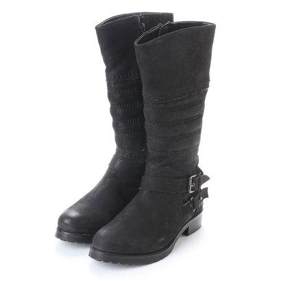 【アウトレット】イタリコ ITALICO アンティークレザー? ダブルベルトジョッキーロングブーツ (ブラック)