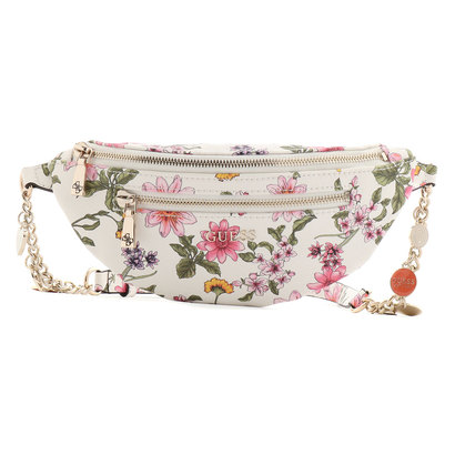 ゲス GUESS DETAIL BELT BAG (WHITE FLORAL)